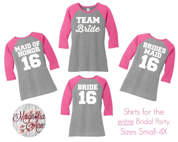 Team Bride Bridal Party Baseball Raglan Sleeve Tops in 5 colors in Sizes Small-4X, Plus Size