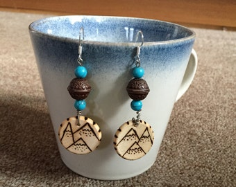 Wood Burned & Beaded Mountain Earrings