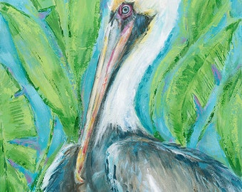 Vera: Fine art giclee print of a brown pelican from an original acrylic painting