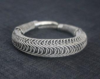 Handmade Tribal Miao silver Coiled Wire Bangle Bracelet