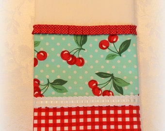 White Cotton Tea Towel with Cherries and Red Gingham