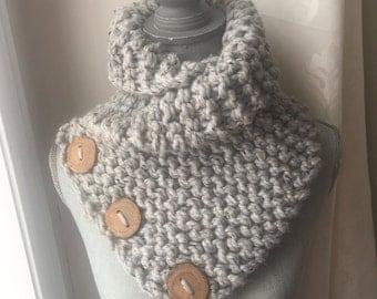 Grey Marble Knit Collar