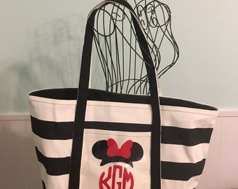 Monogram Mouse Ears Tote Bag // Disney Boat Tote // Disney Bag // Minnie Ears // Carry on Tote for Disney World // Disney Beach Bag
