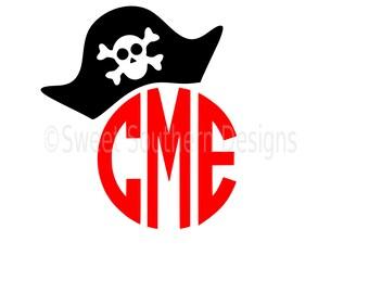 Pirate hat monogram boys SVG instant download design for cricut or silhouette