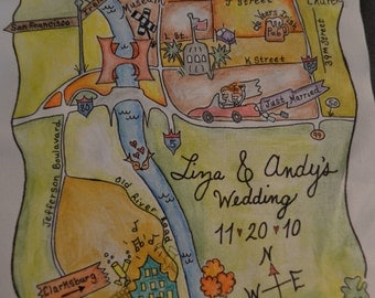 Custom Wedding Map - Hand Drawn, Watercolor