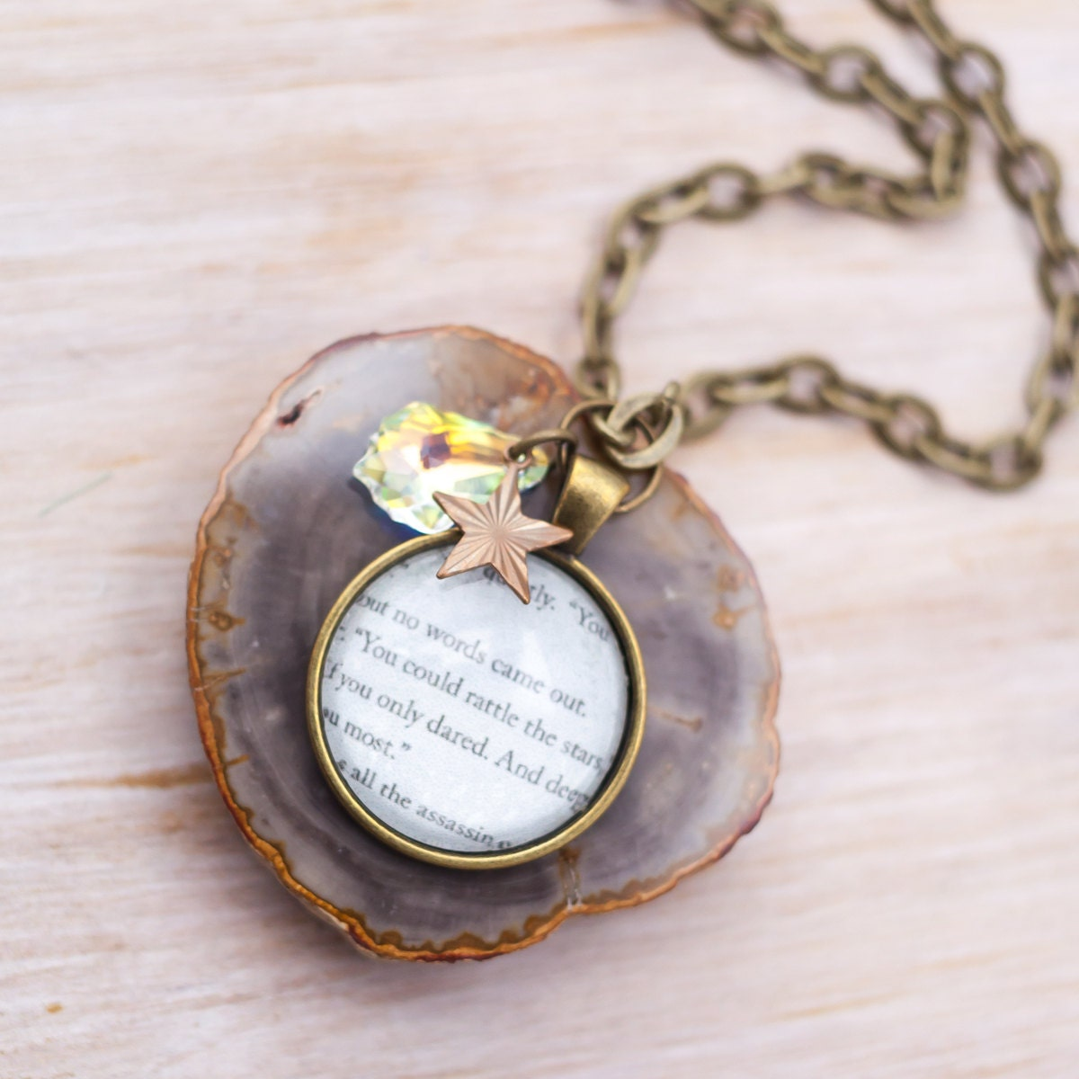 Throne of Glass Brass Book Necklace Bookish by LiberdeStella