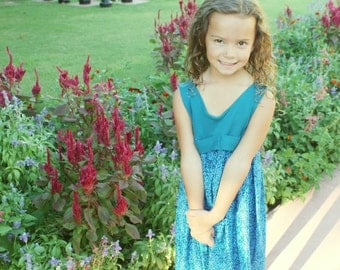Girls Seahorse Dress, Toddler Seahorse Dress, Girls Turquoise Dress, Boutique Dresses, Turquoise Toddler Dress, Blue Seahorse Dress