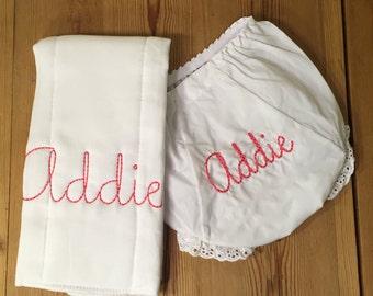 Monogram/Initial Personalized Diaper Cover Burp Cloth Set