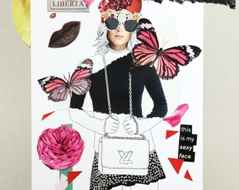 Butterflies - collage print, original illustrations, posters