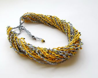 Silver & yellow cord necklace