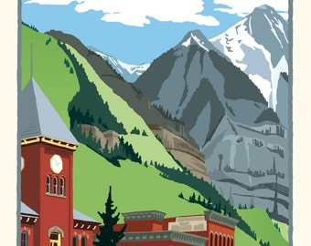 Greetings from Telluride Colorado -  Vintage Style Travel Poster