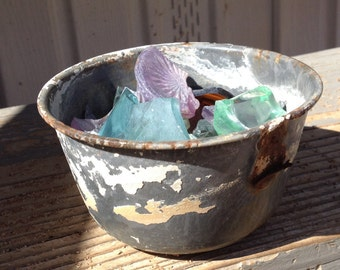Rusted Tin Bowl with Desert Glass