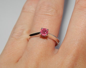 Ruby Jewelry Ring, Sterling Silver Natural Ruby Ring 0.5ct ruby ring