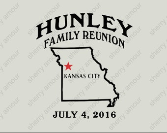 16 Pack Custom Family Reunion T-Shirts / Family Gathering / Your State Shape & City