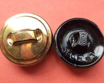 9 glass buttons gold 19 mm (5507) button buttons