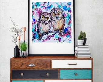 Watercolor Owl Art Print - Little Owls 2