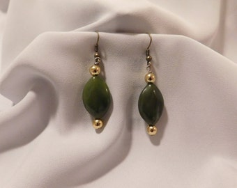 Green and Gold/Blue and Silver Stone Earrings