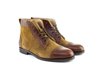 Women Handmade Balmoral Ankle Boots in Brown Leather and Mustard Suede - Caramel Brown Leather and Mustard Suede