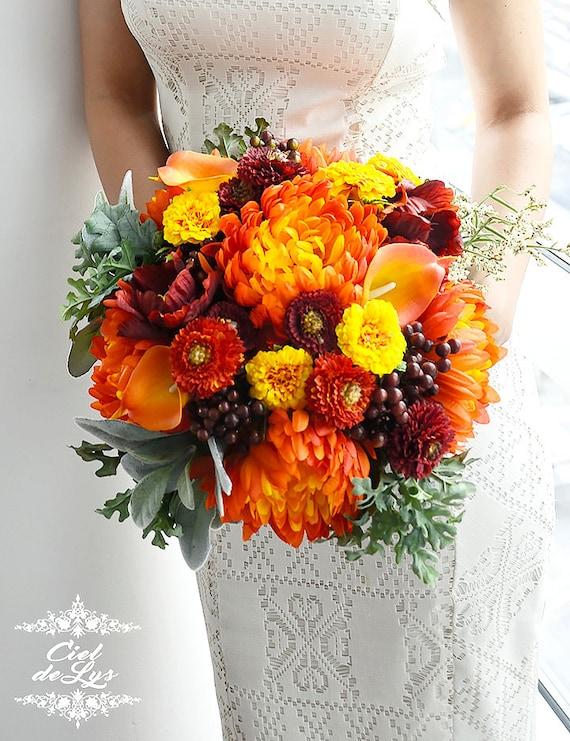 Fall Wedding Bouquets Fake : Wedding bouquet orange bridal fall flowers