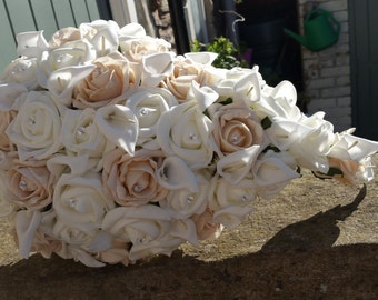 Champagne  and ivory teardrop bouquet