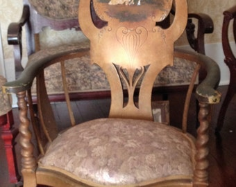 Victorian chair with faded gilding and painted back
