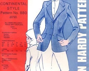 Child's Continental Style Hunt Coat Vintage Jean Hardy Pattern #880 (Sizes 6-14)
