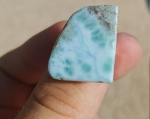 Larimar Slab Ring Size 8 1/2 Sterling Silver Amazing and Unique Cut Natural Larimar Slab Ocean Blue Beautiful Healing Properties