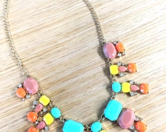 Neon Paradise Bib Statement Necklace