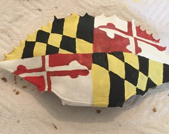Blue crab shell - painted with Maryland Flag
