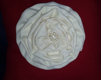 Red & Ivory Flower Throw Pillow