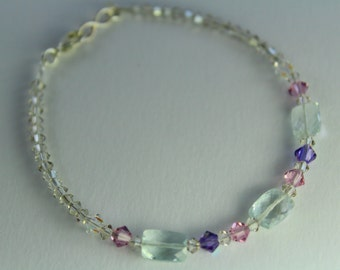 Aquamarine and Swarovski beaded bracelet