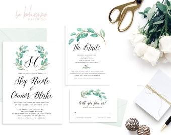Printable Wedding Invitation Suite / Wedding Invite Set - The Sky Wreath Suite