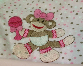 "Personalized Embroidered Baby Blanket / ""Sock Monkey"" / Baby Shower Gift Set / Pink Flannel Blanket / Handmade Gifts / Baby Bib / Burp Cloth"