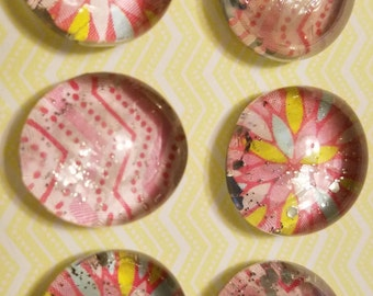 Pretty Pink Glass Magnets (Set of 6)