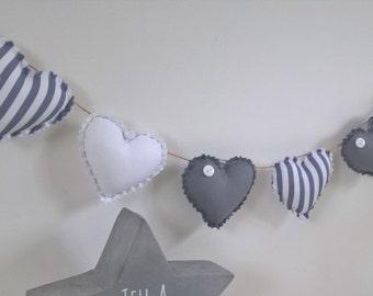Hand Made Shabby Chic 7 Heart fabric Garland Bunting Grey White Stripe