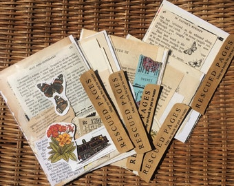 Rescued Pages - size 1 - Scrapbook/Craft Packages made from recycled book pages