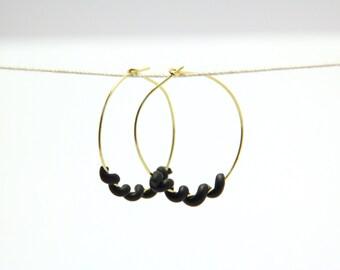 Black Twist Gold Hoop Earrings
