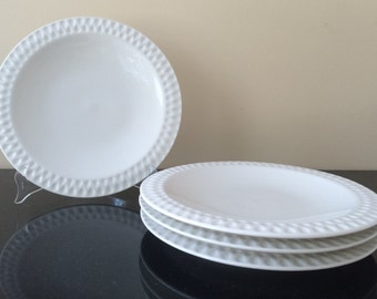 Vintage China, Iroquios China, Diamond White, Ben Seibel Design, Intaglio, White Vintage China, Set of 4, White Dinner Plates, PL3531