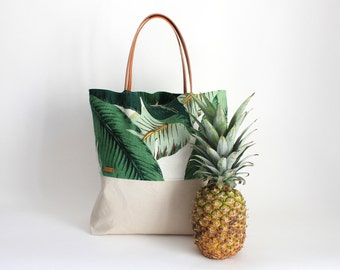 Beach bag tote bags tropical palm leaf / linen canvas / leather carrier