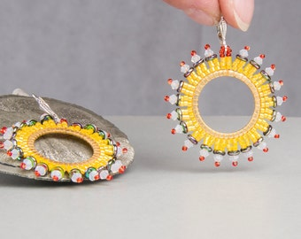 Yellow hanging earrings, beadwork, earrings, colorful earrings, hippie style silver, boho,