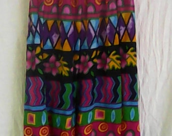 Colorful Geometric Cotton Skirt