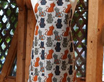 Linen cotton apron Funny cats, funny kitchen apron for women, cute apron, cooking apron