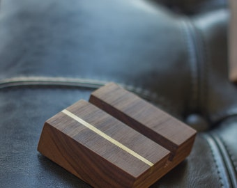 Card Holder - Walnut and Brass