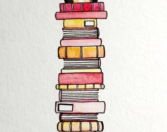 Original Watercolor Painting: Pink Book Stack