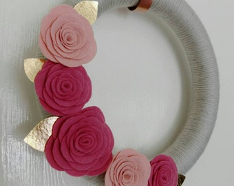 Pink & Gold Rose Wreath 14""
