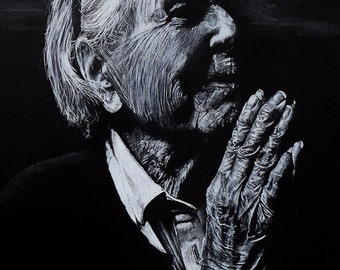 "Old Woman Praying White Pencil on Black Paper 12""x 20"""