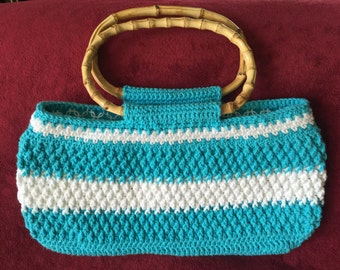 Crocheted Lined Cotton Purse with Bamboo Handles, Aqua and White