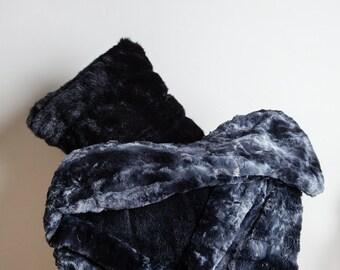 Black Throw Blanket, Black, Blanket, Bedroom decor, Rabbit decor, Living Room decor, soft blanket, Faux Rabbit