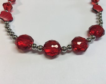 Red and Silver Necklace Lobster Claw Clasp