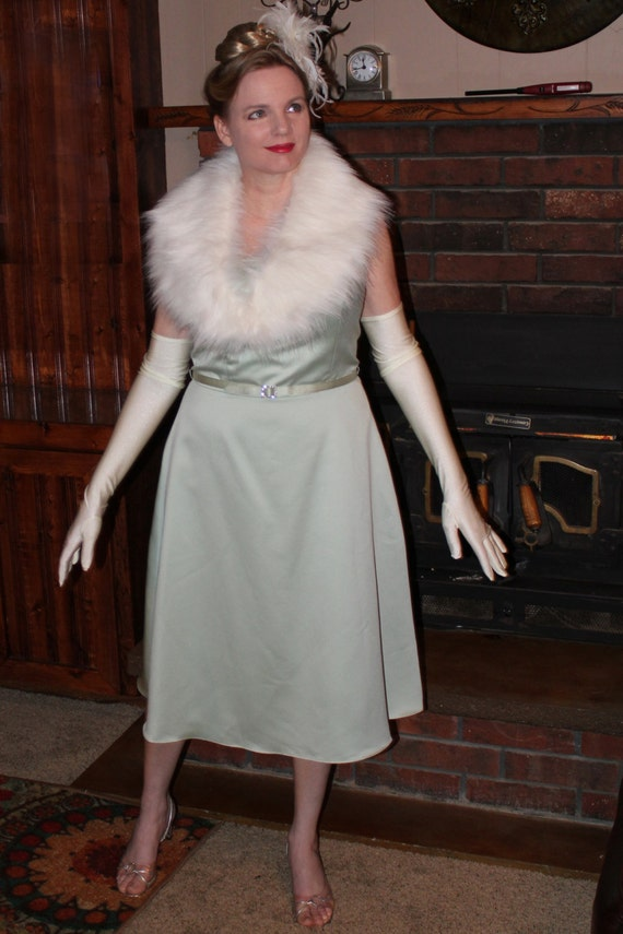 Retro Style Mint Color Strapless Dress, 1950's/1960's  4-Piece Costume, Cocktail Dress, Fur Wrap, Feather Hairclip, and Gloves